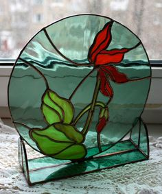 Stained glass panel Cyclamen от Levantese на Etsy