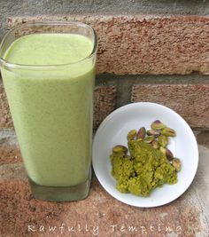 Pistachio Smoothie  1 young Thai Coconut (water and meat)  1/12 to 1 cup filtereed water - as needed  1/4 cup pistachios    2 frozen bananas  1/4 Tablespoonchia seeds  1 Tablespoon hemp seeds.  6 kale leaves, (stems removed)  2 TablespoonsLiving Tree Community Pistachio Butter(optional)  2 medjool dates  Optional: Add 1 teaspoon Spirulina Powder,      Directions:  Blend coconut water and meat until creamy. Add remaining ingredients, and blend.