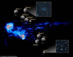 The Magellanic Clouds and a stream of neutral hydrogen are shown in the illustration here,...