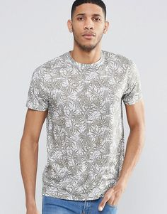 Image 1 of ASOS T-Shirt With Tonal Leaf Print