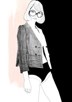 Sassy fashion illustration by Tracy Turnbull chic black & white drawing with patterned jacket and big glasses
