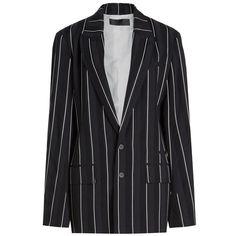 Haider Ackermann Striped Blazer ($1,760) ❤ liked on Polyvore featuring outerwear, jackets, blazers, stripes, black and white stripe blazer, denim blazer, cardigan shrug, navy blue blazer and denim shrugs