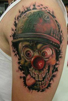 Goofy WWII Skull Tattoo