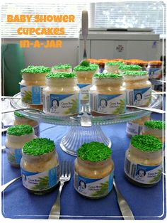 Don't throw out those baby food jars! -- With these free printable labels for showers and birthdays, you can use them to serve cupcakes or make adorable favors.  Includes a tutorial for baking cupcakes inside the jars.