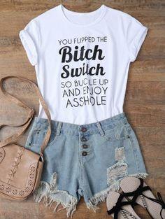 Jewel Neck Letter T-Shirt - White