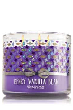 "Berry Vanilla Bean - 3-Wick Candle - Bath & Body Works - The Perfect 3-Wick Candle! Made using the highest concentration of fragrance oils, an exclusive blend of vegetable wax and wicks that won't burn out, our candles melt consistently & evenly, radiating enough fragrance to fill an entire room. Topped with a flame-extinguishing lid! Burns approximately 25 - 45 hours and measures 4"" wide x 3 1/2"" tall."