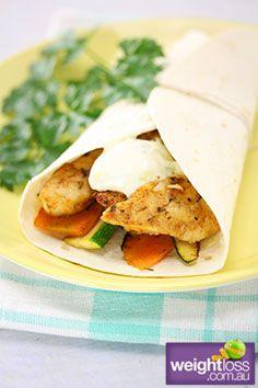 Cajun Chicken Wrap. #HealthyRecipes #DietRecipes #WeightLossRecipes weightloss.com.au