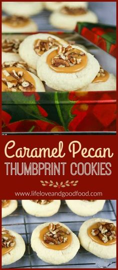 Celebrate the Sweetest Season with Caramel Pecan Thumbprint Cookies—buttery shortbread with creamy caramel centers topped with pecans. @cookies4kids #sweetestseasoncookies via @sheilathigpen