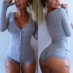 New Gray Sleepwear Sexy Plunging Neck Long Sleeve Gray Knitted Romper For Women #740Boutique #Romper