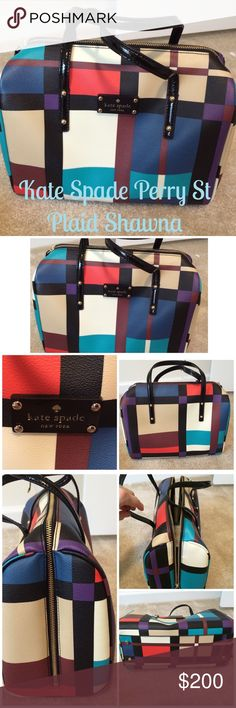 Kate Spade Perry Street Plaid Shawna tote ⚓️HP⚓️ ⚓️Host Pick 7/23/16 Weekend Warrior⚓️ Authentic Kate Spade Perry Street plaid Shawna tote...EUC, no stains on the exterior or interior..zipper extends to almost to bottom of each side..ivory interior with Kate spade sayings..pocket and zipper pocket in interior with same plaid material as outside, handles are patent material with strap drop of 4 in to the top of the purse..bought from KS online and it did not come with a dust bag. ⚓️NO…