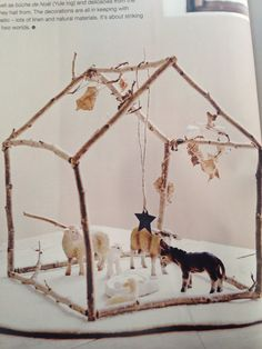 Nativity scene in a stick house with Schleich animals Via real living Christmas 2014
