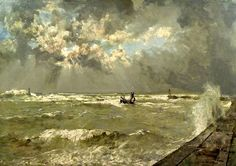 Johan Hendrik van Mastenbroek A logger in rough weather in the outer harbour of Scheveningen 1936 Choppy Water, Canoe Boat, Prince, Dutch Painters, European Paintings, Dutch Artists, Impressionist, Landscape Paintings, Oil On Canvas