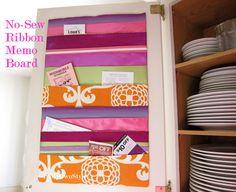 Quick and Easy No-Sew Ribbon Memo Board