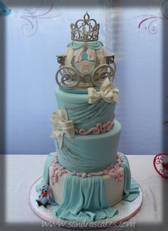 Cinderella BIrthday Cake - Made for my niece Carissa this weekend. All edible; Carriage made using RKT.