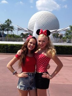 Peyton List and Kelli Berglund's Minnie Mouse styles!
