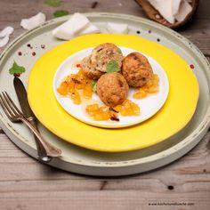 Kokos-Hendlbällchen Chutney, Curry, Eggs, Chicken, Meat, Breakfast, Ethnic Recipes, Food, Pineapple