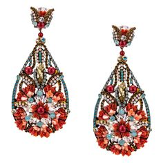 JJ Caprices - Coral and Mother of Pearl Pendant Earrings by DUBLOS