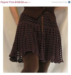 ON SALE  Women's Crochet Skirt or Capelet  Espresso by AnnieBriggs,