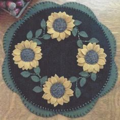 Sunflowers felted wool applique penny rug candle mat pattern Cath's Pennies in Crafts, Sewing & Fabric, Quilting | eBay
