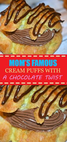 CREAM PUFFSBEST RECIPE EVER!! FROM MY MOM XO In a pot bring the following to Famous Recipe, Best Food Ever, Dessert Recipes, Desserts, Melting Chocolate, Cream, Baking, Mom, Breakfast