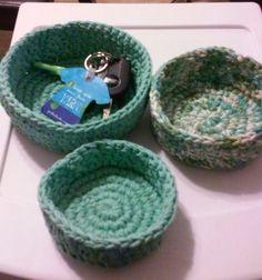 Nesting Bowls, Crochet bowls, Storage, Sage Green by GrammaLeas on Etsy