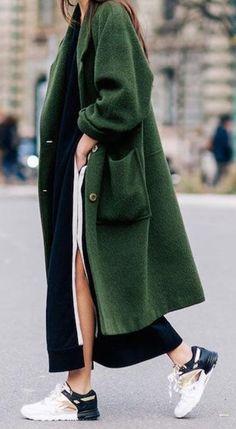 green coat.
