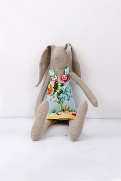 Easter Bunny - Light Natural canvas rabbit- dressed in light blue dress With  floral-print handmade fabric doll.