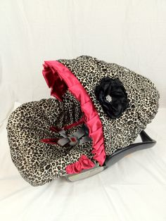 Leopard Red Infant Car Seat Cover, Baby Car Seat Cover with Matching Neck Strap Set. $74.95, via Etsy.