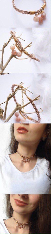 CHOKER NECKLACE - beige leather choker with stones and metallic gold tubes_ Jewellery  Necklaces  Chokers  leather necklace  Accessories  Metallic  gold choker  copper  gems  contemporary jewelry modern accessory  minimal chic  gift for her  beads  minimal  boho_  Overview Handmade item Primary colour: Copper Secondary colour: Gold Materials: leather, stones