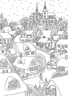 printable christmas village snowy village on eve coloring page free printable christmas village houses Detailed Coloring Pages, Free Adult Coloring Pages, Free Printable Coloring Pages, House Colouring Pages, Coloring Book Pages, Christmas Doodles, Christmas Drawing, Christmas Coloring Sheets, Free Christmas Coloring Pages