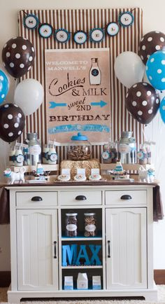 THE cutest Cookies & Milk 2nd birthday party via Kara's Party Ideas! LOVE the colors and party elements! #cookies #milk #birthday #party #ideas