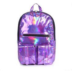 Hologram Laser Harajuku Preppy Style Backpack ($18) ❤ liked on Polyvore featuring bags, backpacks, hologram backpack, purple backpack, knapsack bags, rucksack bag and preppy bags