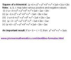 square formulae of a trinomail math formulas pioneer mathematics