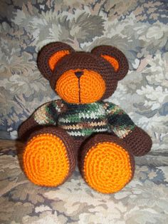 Camo Teddy Bear by HandcraftedbyJenn on Etsy, $15.00