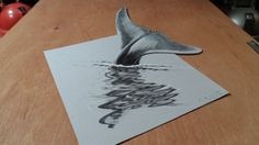 How I Draw a 3D Blue Whale, Optical Illusion & Awesome Animals