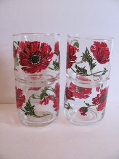 Set of 4 Libbeys tumblers embossed red poppies by MamabirdsVintage, $15.00