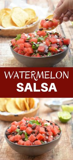 Watermelon Salsa made with juicy watermelon, black beans, onions, and jalapenos tossed in tangy lemon juice. Refreshing and delicious as a dip, and equally delicious over your favorite grilled meat or seafood, it's the fruit dish of the season!