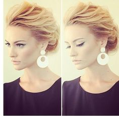Messy updo and the makeup. SO @Caroline Tyler