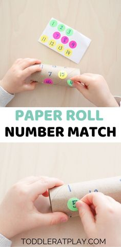 These Paper Roll Number Match Activity requires only a couple of materials plus a paper roll that anyone can find in the Educational Activities For Preschoolers, Activities For 2 Year Olds, Toddler Activities, Preschool Prep, Preschool At Home, Math Numbers, Preschool Number Activities, Learning Numbers Preschool, Kindergarten
