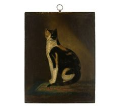 18th & 19th century american folk art | PAINTING OF A CAT ON WOODEN PANEL, 2ND QUARTER 19TH CENTURY