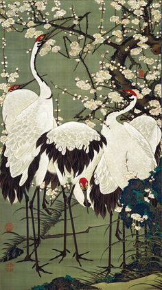 Ito Jakuchu (Japanese: 1716-1800) - Plum Blossoms and Cranes -