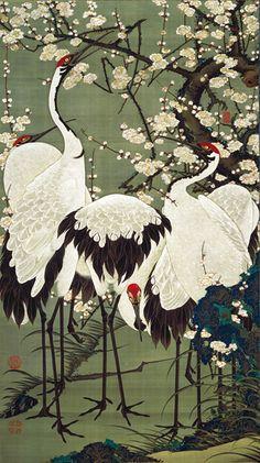 Ito Jakuchu (Japanese: 1716-1800) - Plum Blossoms and Cranes -