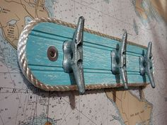 Wall Hook Rack - Galvanized Boat Cleats - Beach Towel Hook - Coat Hooks - Nautical Seaside Ocean Chic Decor - Caribbean Colors - Marine Rope