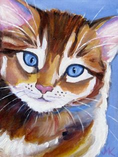 """Cat Original Animal Oil Painting 6"""" x 8"""" Signed by M.Kilic #Realism"""