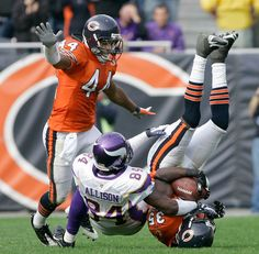 The Chicago Bears rival it out with the Minnesota Vikings at Soldier Field in October 19, 2008 in Chicago. Bears Win 48 to 41.