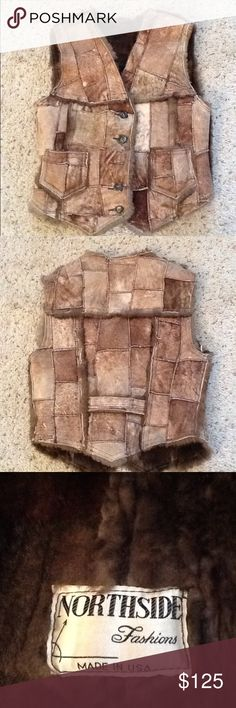 "NORTHSIDE SEARS VINTAGE SHEEPSKIN SHEARLING VEST Amazing Northside sz Medium Sears vintage SHEEPSKIN Shearling PATCHWORK vest.  Gorgeous brown tone patchwork with fur interior.  Measurements:  pit to pit is 17"", top to bottom measures 21"".  Great vest!  Will ship right away.  Check out my other designer items Vintage Jackets & Coats Vests"
