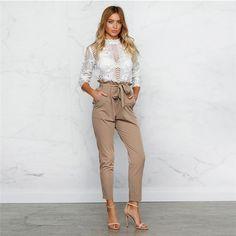$6.67 - Fashion Lady Women Skinny Trousers Ol High Waist Drawstring Harem Slim Pants S #ebay #Fashion