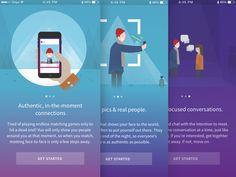 Vue is an app that allows you to connect with those around you in real time, in the places you love.   Vue is not boring & sterile. We created a set of on boarding/welcome illustrations that ar...                                                                                                                                                                                 More
