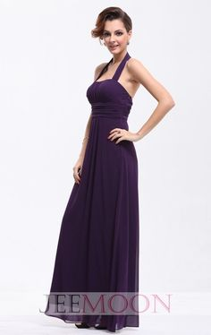2014 New Arrivals Floor-length A-line Halter Purple Chiffon Bridesmaid Dress