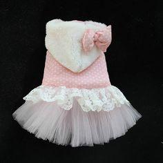 Pet winter skirt/dog Wedding dresses/Pink Dog Coat by kelifastner, $17.90